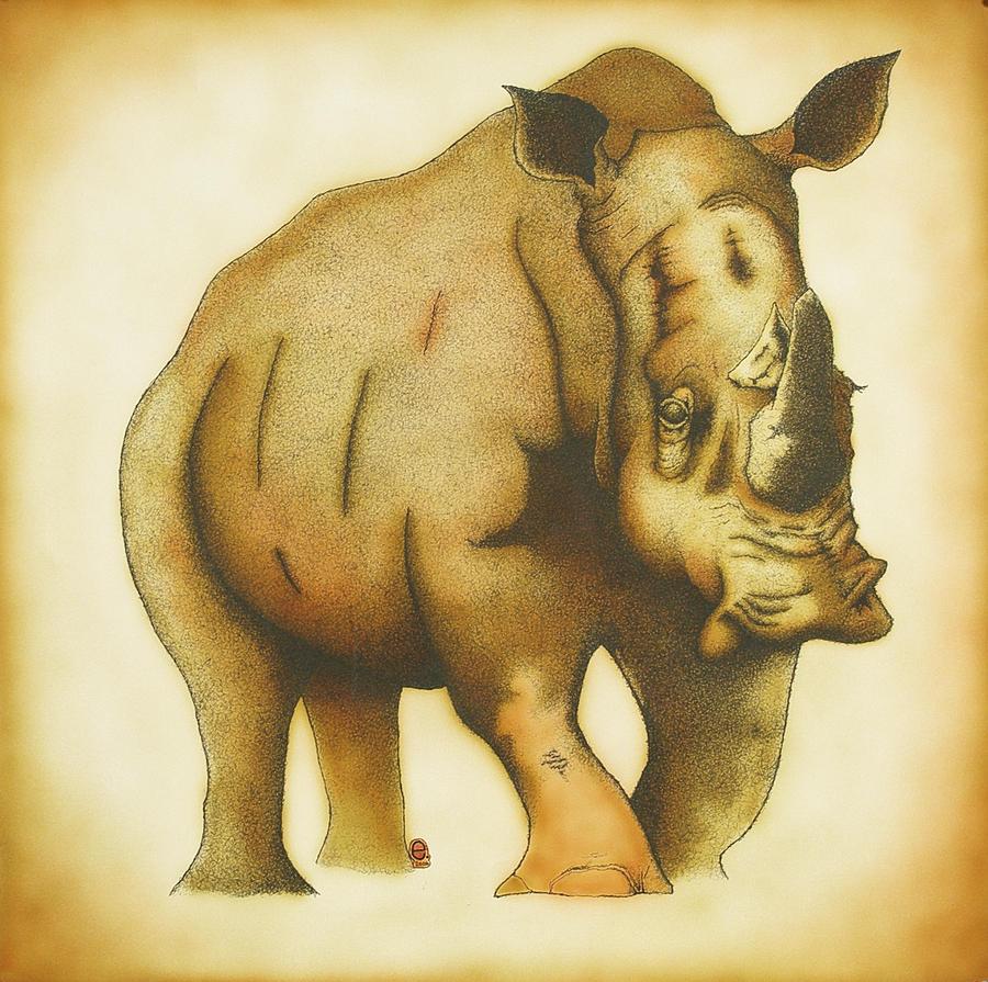 Rhinoceros Painting - Rhino by Erik Loiselle