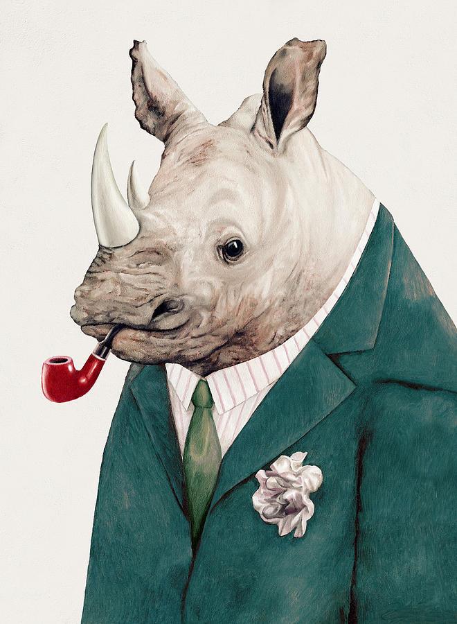 Rhino Painting - Rhino In Teal by Animal Crew