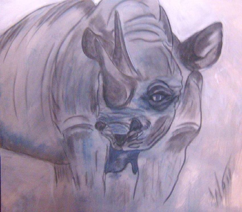 Animal Painting - Rhino Of Five by Tony Van der Watt