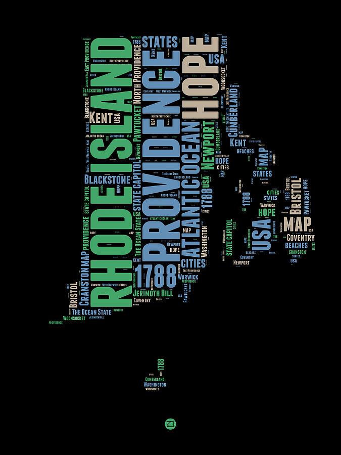 Rhode Island Digital Art - Rhode Island Word Cloud 2 by Naxart Studio