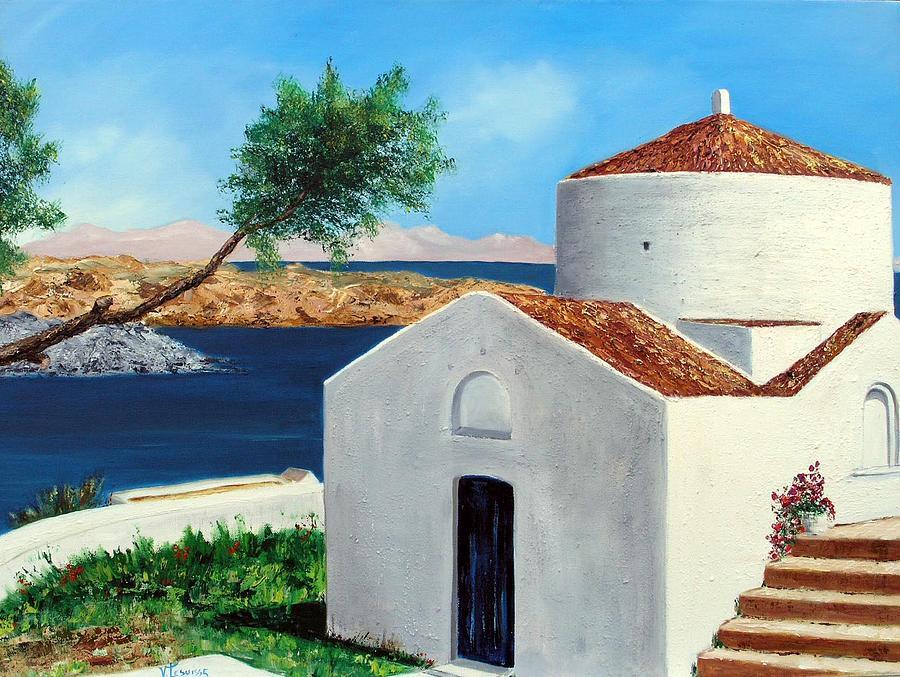 Landscape Painting - Rhodes Lindos by Lesuisse Viviane