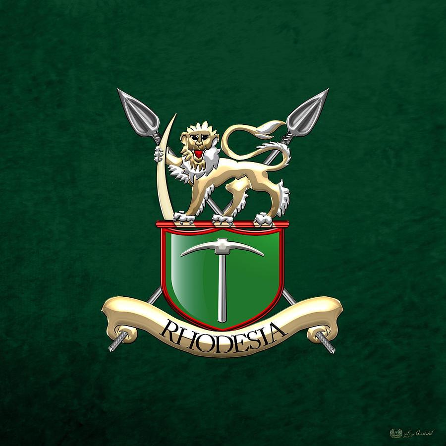 Rhodesian Army Emblem Over Green Velvet Digital Art By