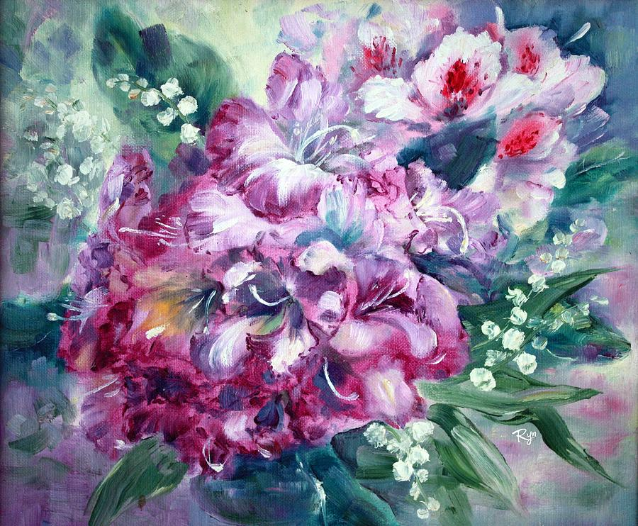Rhododendron Painting - Rhododendron And Lily Of The Valley by Ryn Shell
