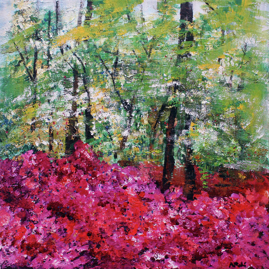 Landscape Painting -  Rhododendron Glade Norfolk Botanical Garden 201821 by Alyse Radenovic