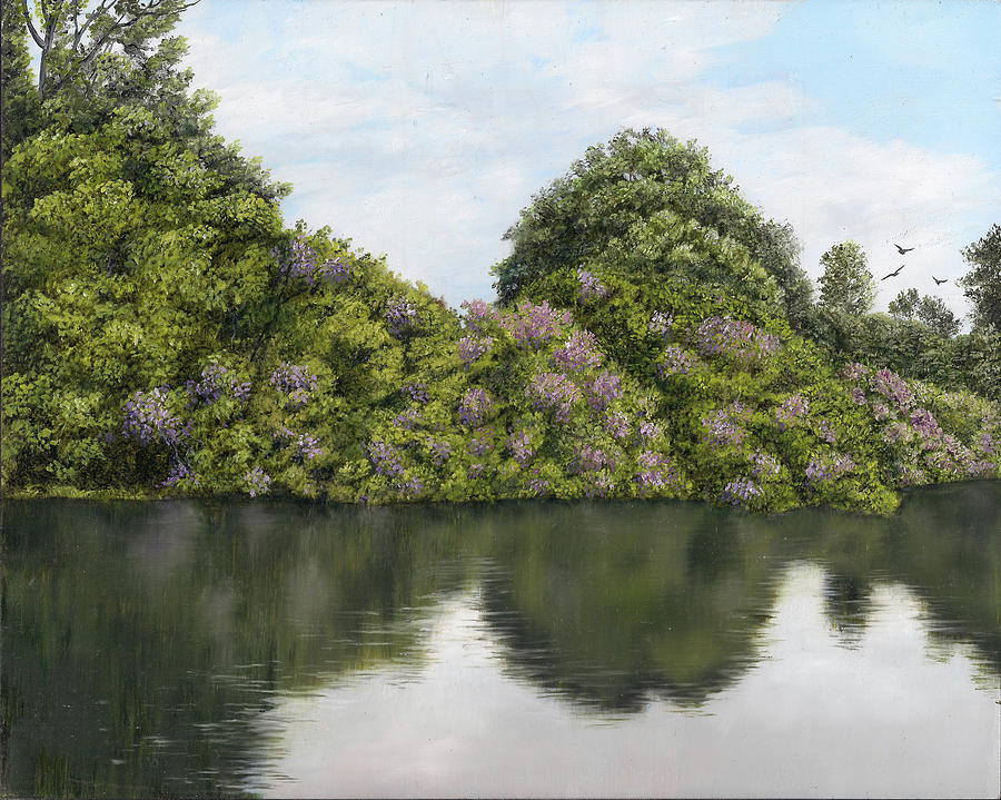 Flowers Painting - Rhododendrons By The River by Kathie Miller