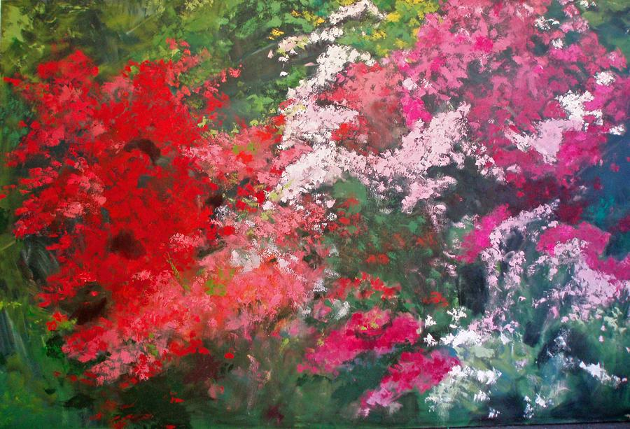 Rhododendrons Painting by Krystyna Suchwallo