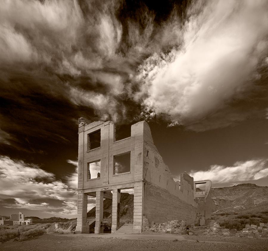 Cloud Photograph - Rhyolite Nevada Ghost Town by Steve Gadomski