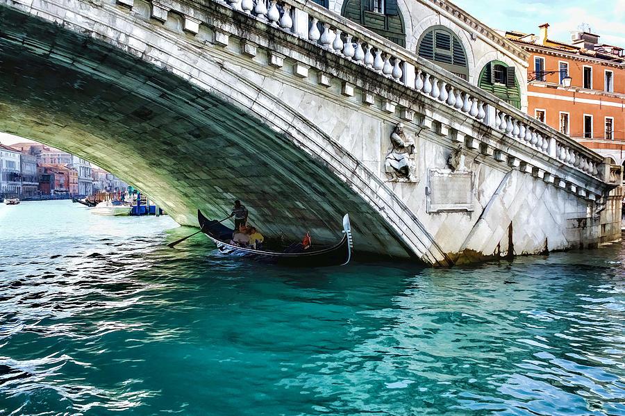 A Gondola Gliding Under Rialto Bridge - Iconic Venice View by Georgia Mizuleva