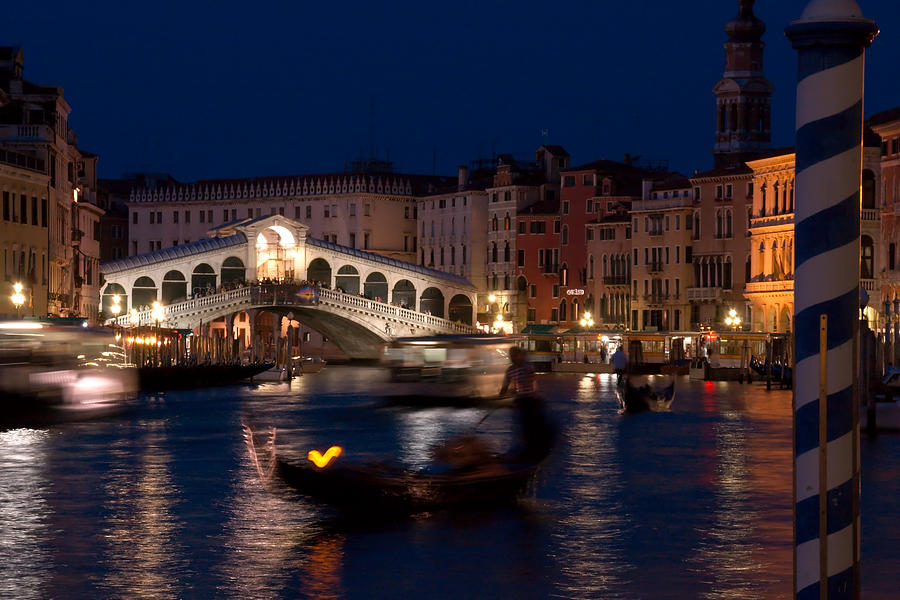 Venice Photograph - Rialto Bridge In Venice At Night With Gondola by Michael Henderson