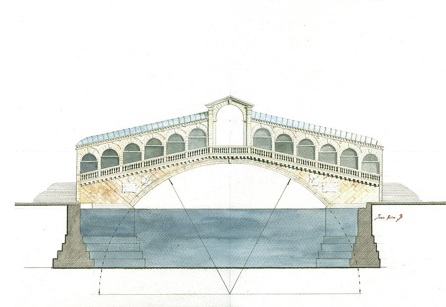 Rialto Bridge Painting - Rialto bridge venice by Juan Bosco
