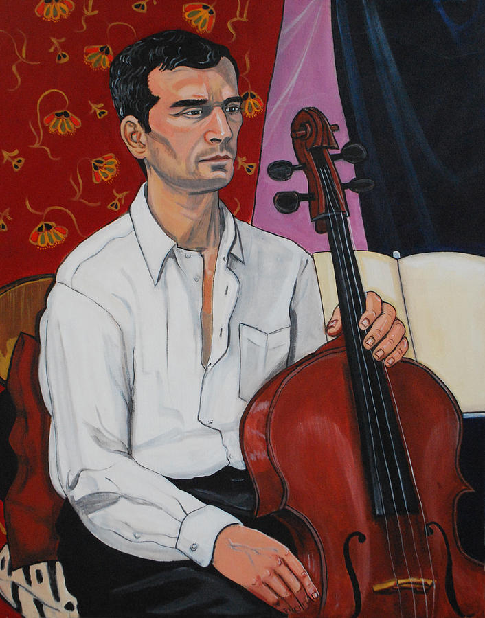 Ricardo With Cello Painting by Diana Blackwell