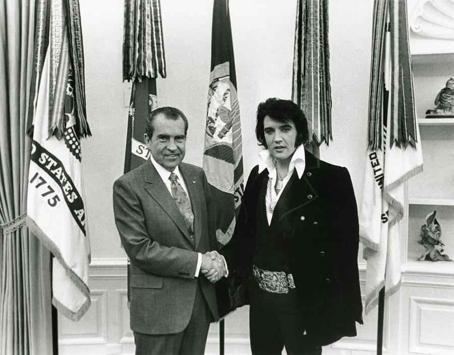Richard Nixon And Elvis Presley Photograph