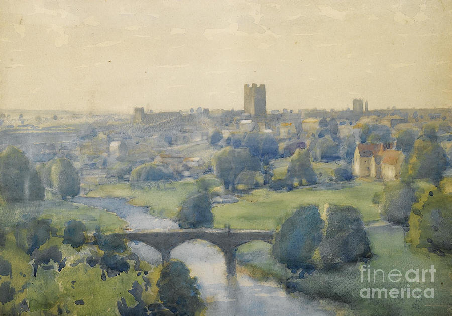 River Painting - Richmond Castle From The Terrace by MotionAge Designs
