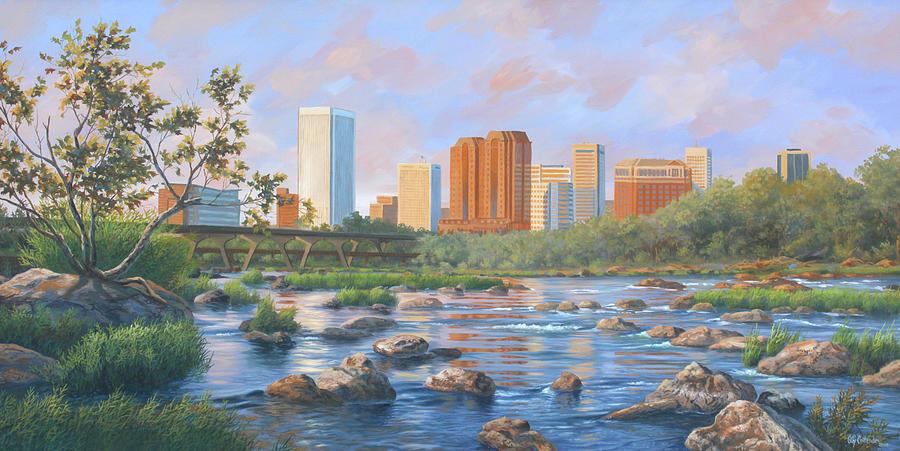 Richmond Painting - Richmond City Skyline by Guy Crittenden