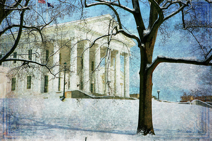 Richmond Virginia Capitol In Snow Photograph by Guy Crittenden