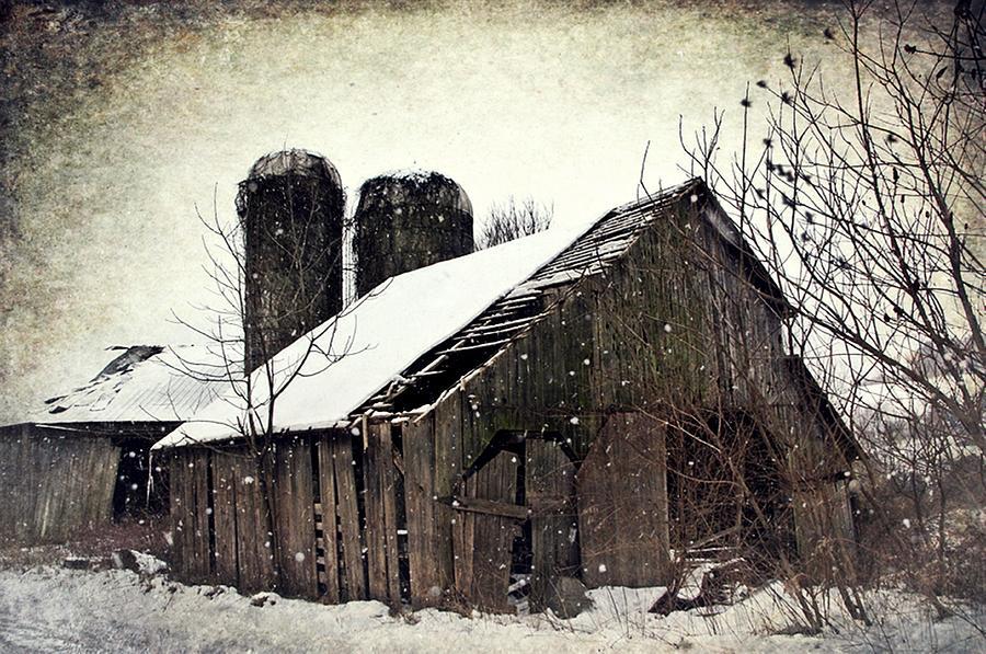 Silos Photograph - Rickety Old Barn by Stephanie Calhoun