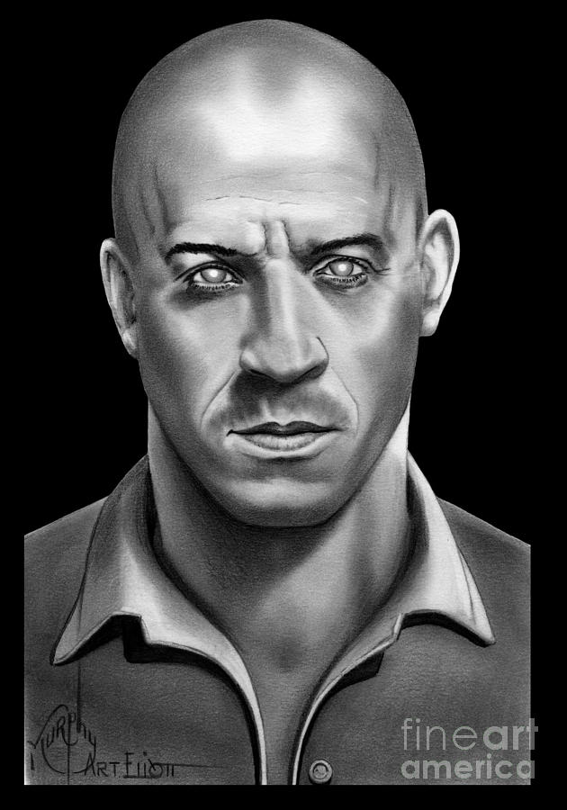 Pencil drawing riddick vin diesel by murphy elliott