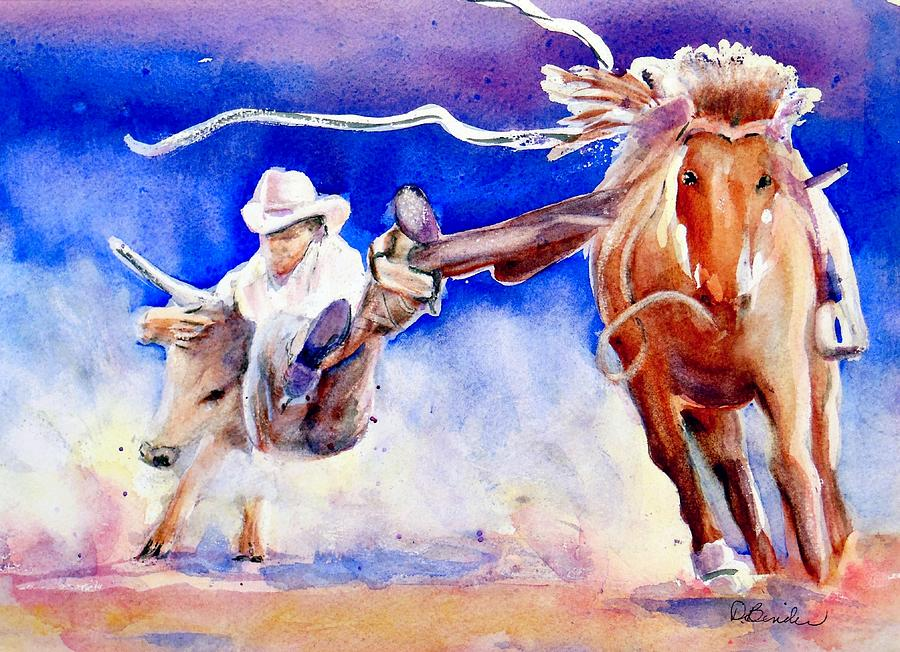 Rodeo Painting - Ride em rodeo Cowboy by Diane Binder