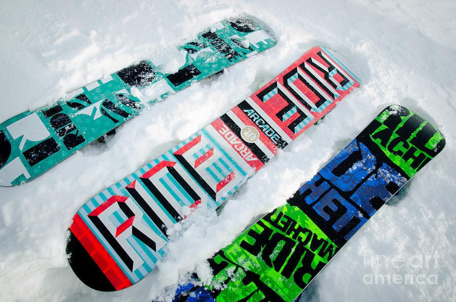 Snowboard Photograph - Ride In Powder Snowboard Graphics In The Snow by Andy Smy