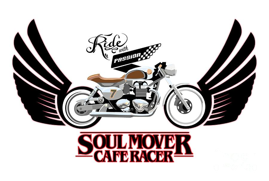 Typography Painting - Ride With Passion Cafe Racer by Sassan Filsoof