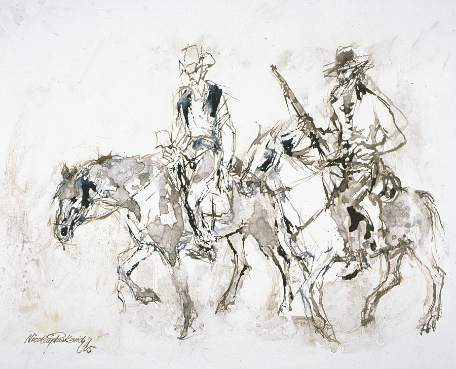 Cowboys Painting - Riders In Brown by Nicolay Paskevich