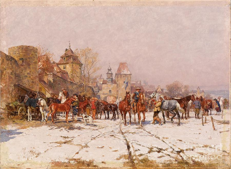 Riders Outside A Village In A Winter Landscape Painting by Celestial Images