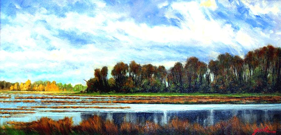 Landscapes Painting - Ridgefield Refuge Early Fall by Jim Gola