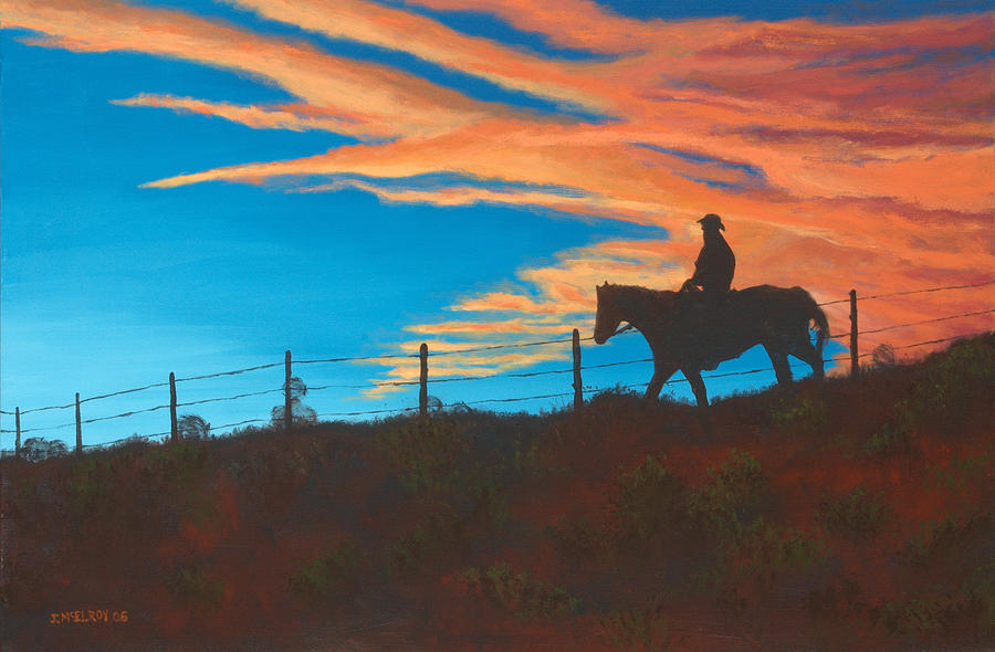 Cowboy Painting - Riding Fence by Jerry McElroy