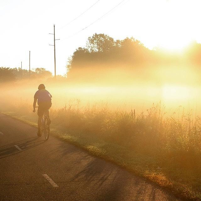 Bike Photograph - Riding Into The Morning Fog by Heidi Hermes
