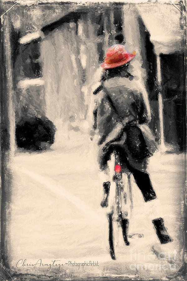 Vintage Painting - Riding My Bicycle In A Red Hat by Chris Armytage