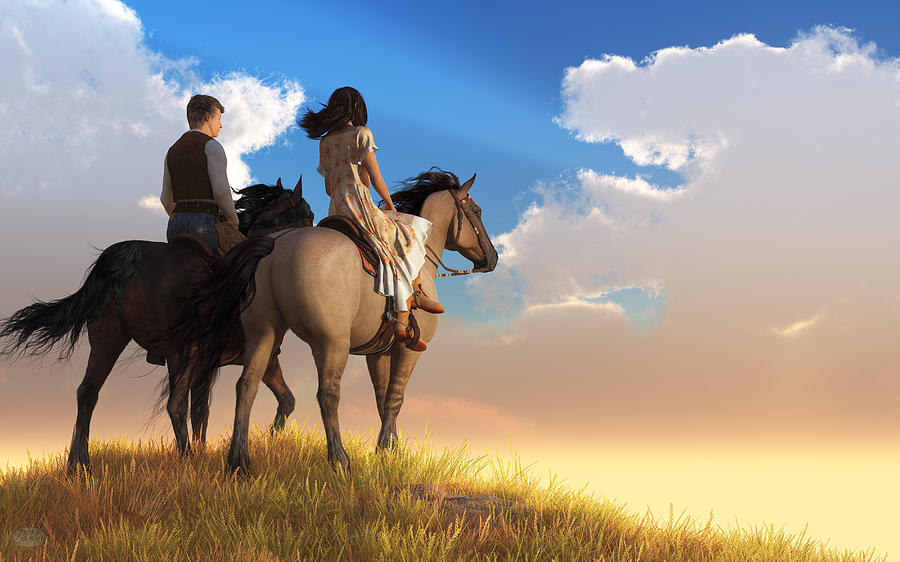 Riding Off Into The Sunset Digital Art - Riding Off Into The Sunset by Daniel Eskridge