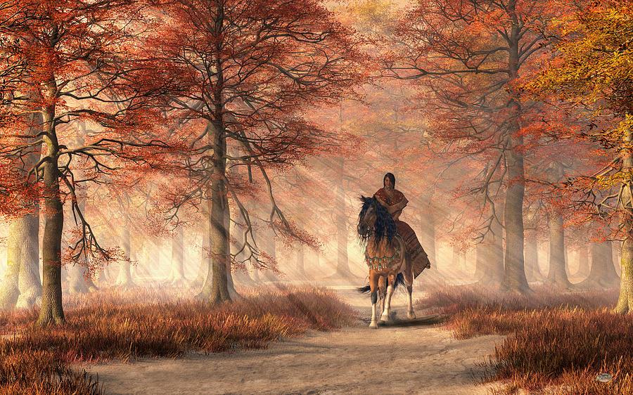 Native American Digital Art - Riding On The Autumn Trail by Daniel Eskridge