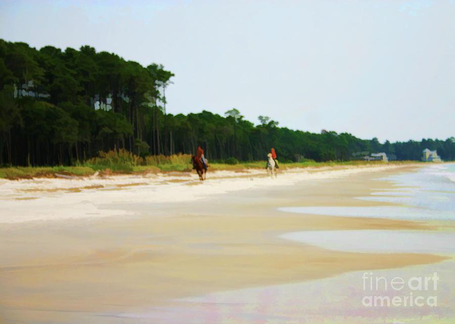 Beach Digital Art - Riding on the Beach by Christine Segalas