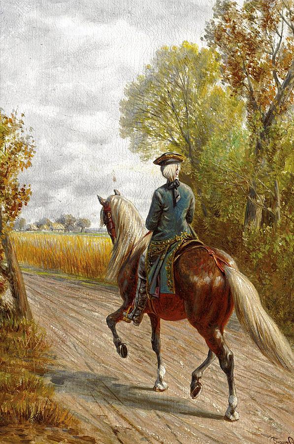 American Man Painting - Riding Scene by Franz Quaglio