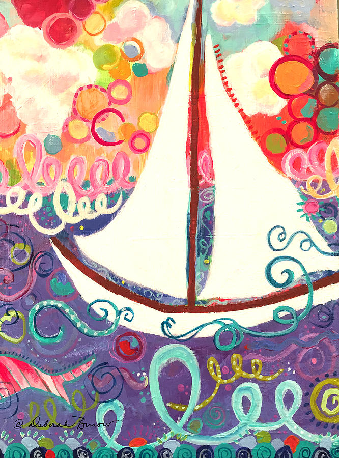 Sailboat Painting - Riding The Waves In Bubbles Of Joy by Deborah Burow