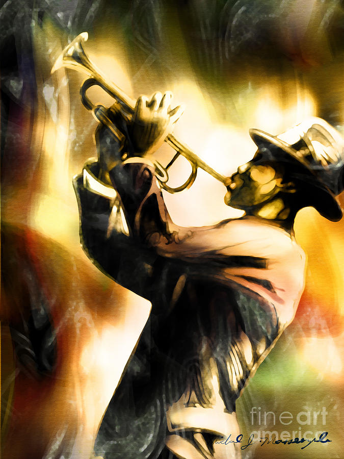 Jazz Artwork Painting - Riff by Mike Massengale