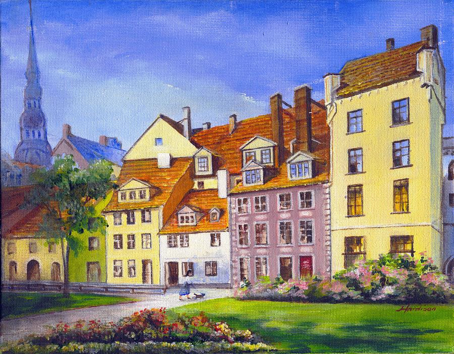 City Scape Painting - Riga Latvia by Robynne Hardison
