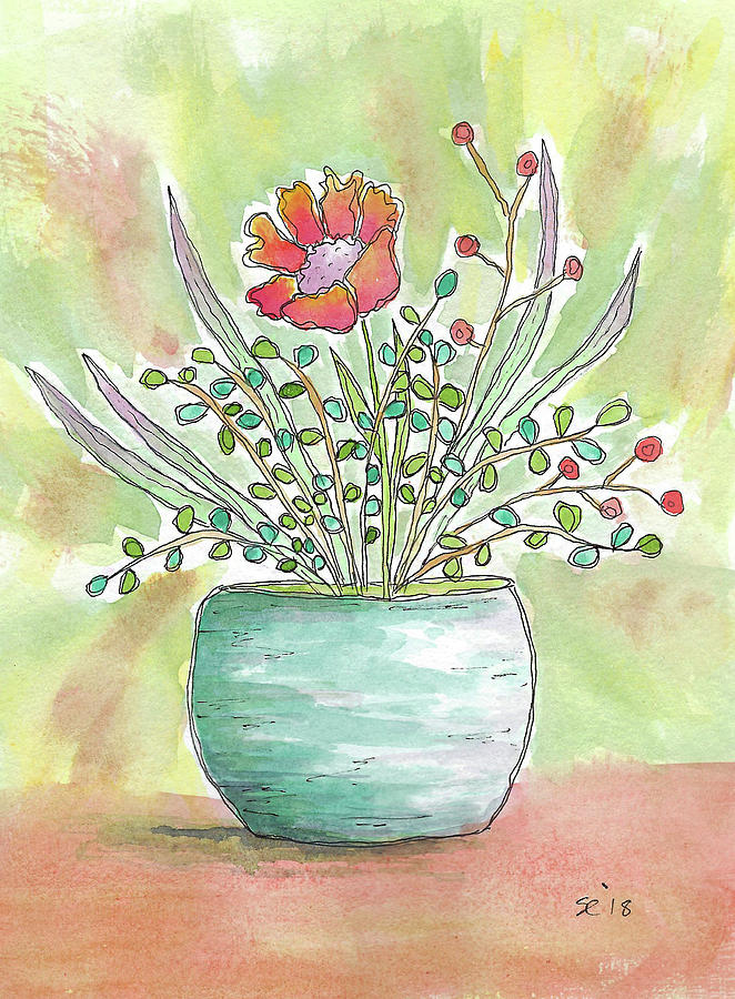 Watercolor And Ink Painting - Right In The Middle by Susan Campbell