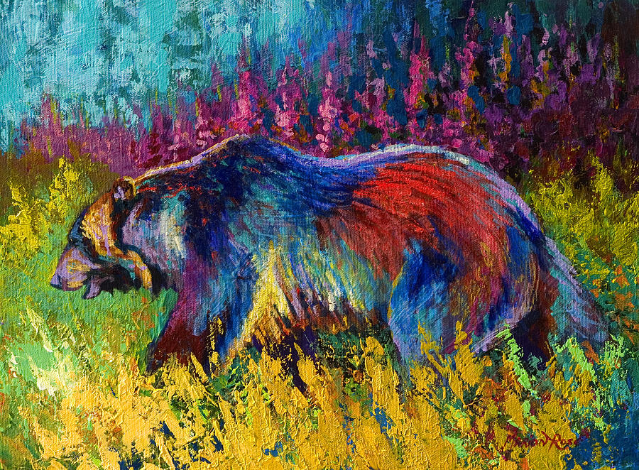 Western Painting - Right Of Way - Grizzly Bear by Marion Rose