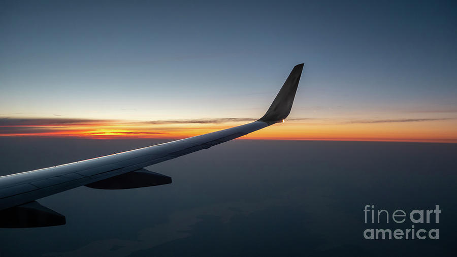 Usa Photograph - Right Wing Of Airplane In Mid Air With Sunrise In The Background by PorqueNo Studios