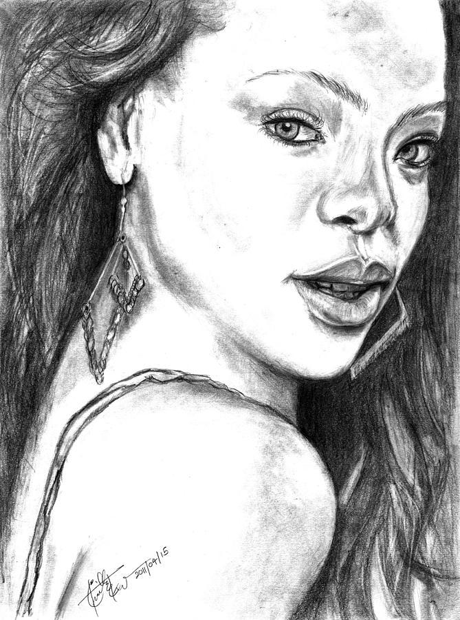 Rihanna - Pencil Art Drawing by Charith Ekanayake