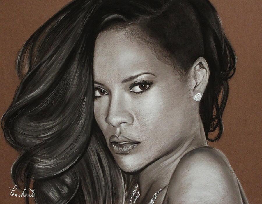 Rihanna Drawing - Rihanna Portrait by Prashant Shah