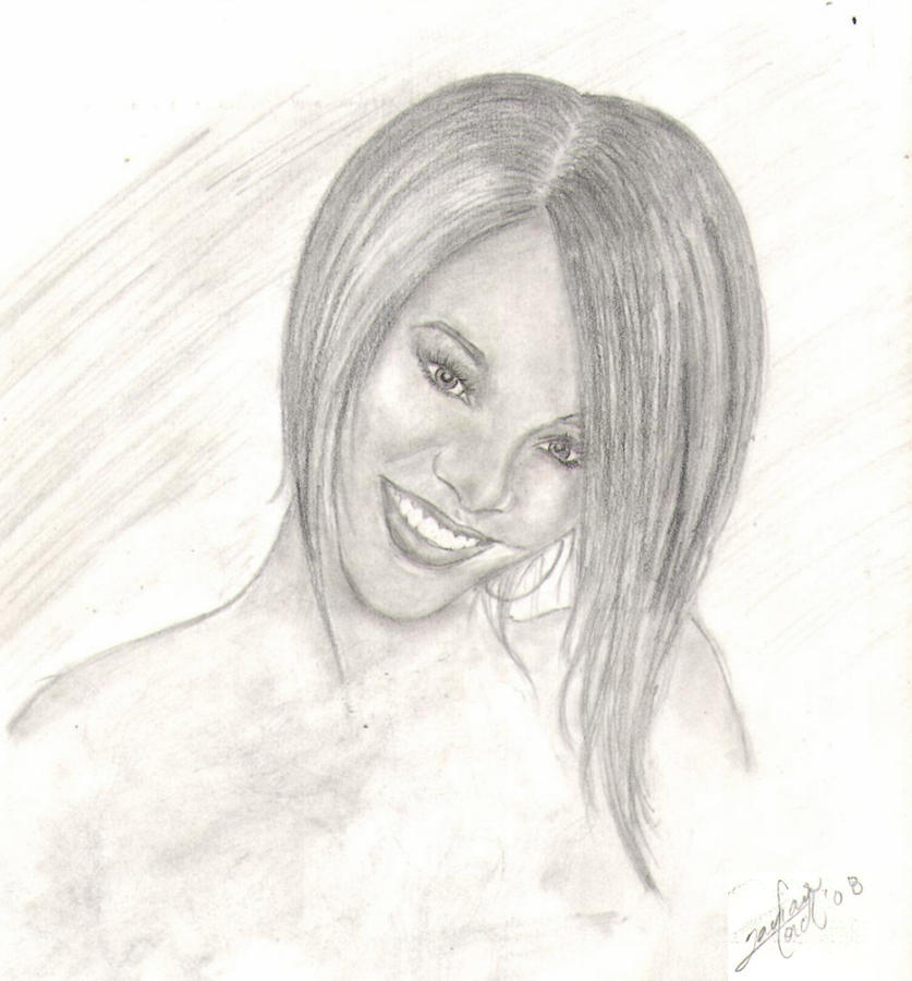Celebrity Portrait Drawing - Rihanna by Tavian Ford