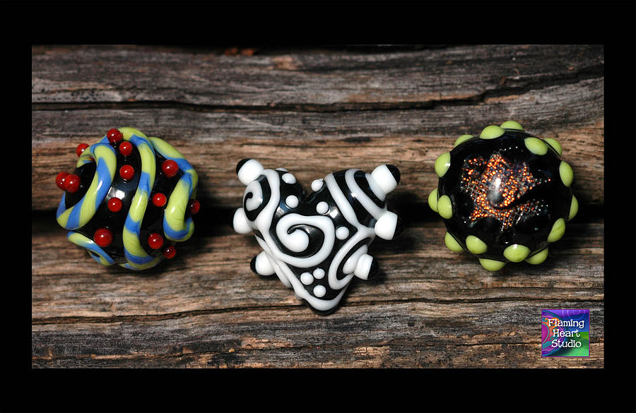 Jewelry Glass Art - Ring Trio by Jennifer Ross
