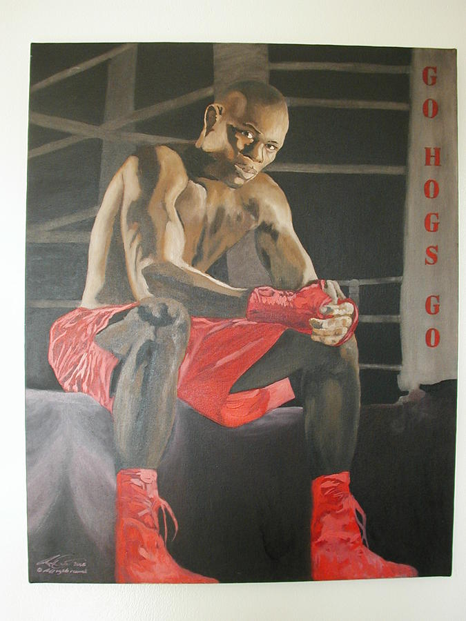 Portrait Painting - Ringside With Jermain by Angelo Thomas