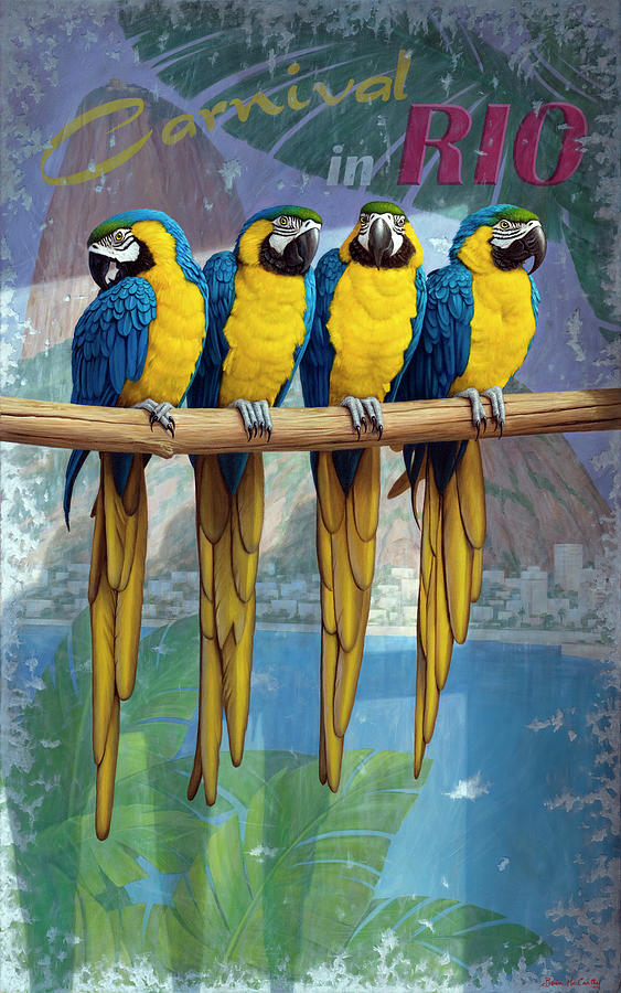 Birthday Card Painting - Parrots in Rio de Janeiro by Brian McCarthy