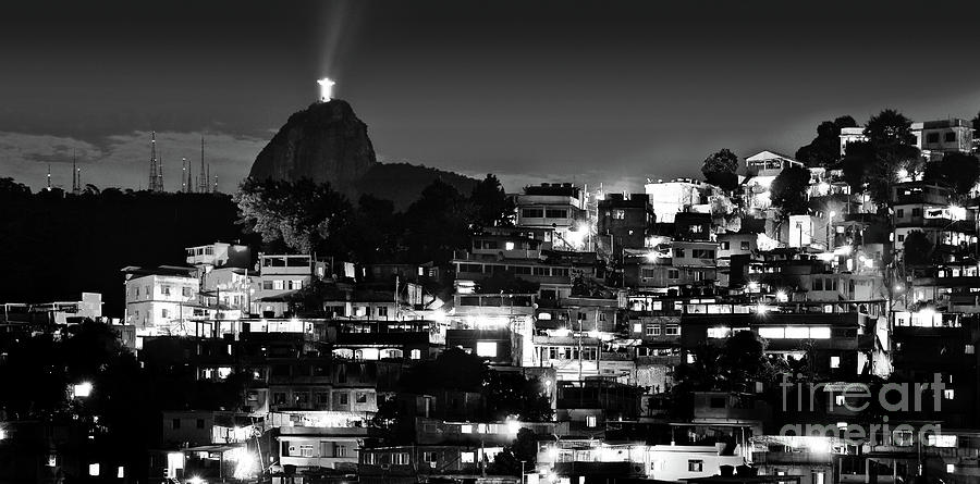 Rio de Janeiro - Christ the Redeemer on Corcovado, Mountains and Slums by Carlos Alkmin