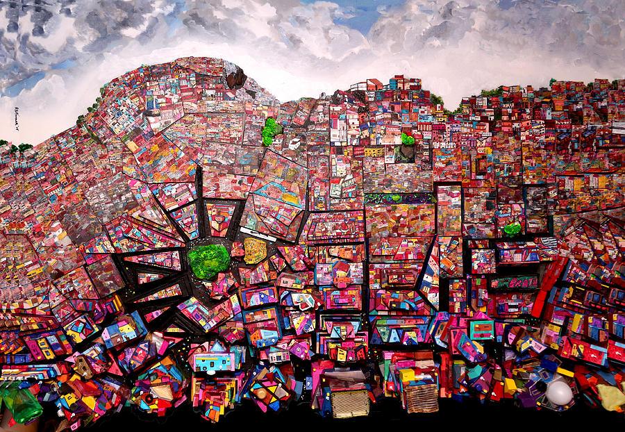 Urban Landscape Painting - Rio Favelas by Robert Handler