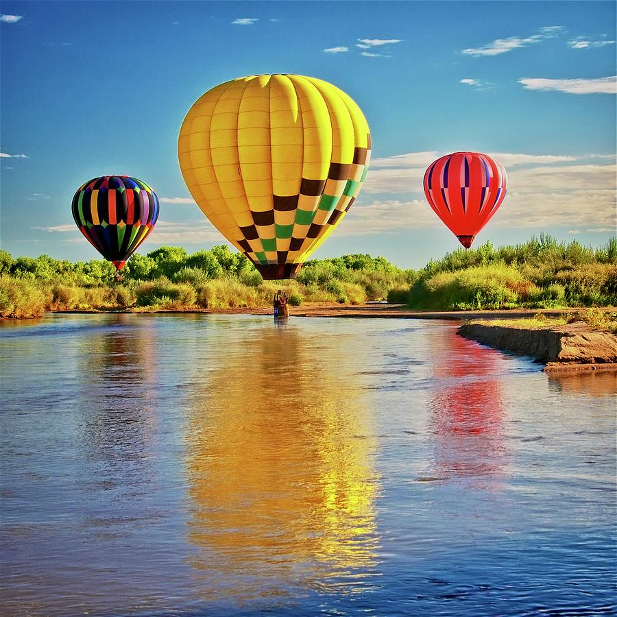 Nature Photograph - Rio Grande balloon Reflection, Albuquerque, NM by Zayne Diamond Photographic