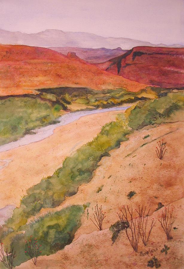 Big Bend National Park Painting - Rio Grande River Valley by Myrna Salaun
